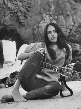 Folk Singer Joan Baez on the Beach with Guitar Near Her Home by Ralph Crane