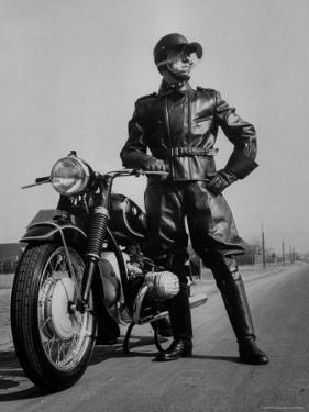 Front Shot of a German Made BMW Motorcycle and Rider by Ralph Crane