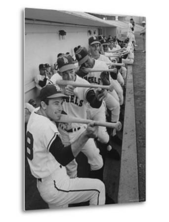 Los Angeles Angels Players Albie Pearson and Bill Moran in Dugout at Stadium During Practice by Ralph Crane