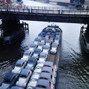 Low Aerials of Citroen Cars on Barge in Unidentified Waterssomewhere in Europe by Ralph Crane