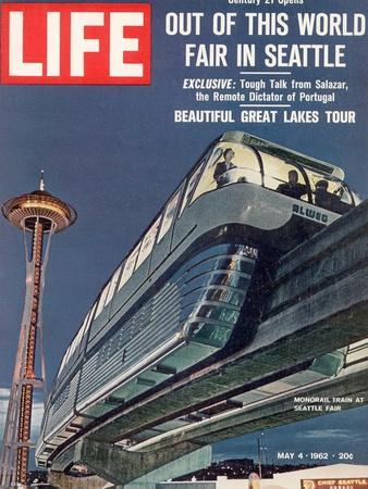 Monorail and Space Needle at World's Fair in Seattle, May 4, 1962