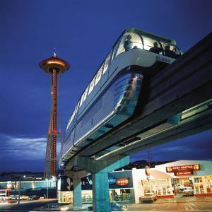 Monorail at Century 21, Seattle World's Fair. Space Needle in Background by Ralph Crane