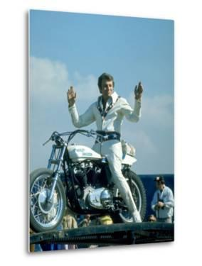 Motorcycle Daredevil Evel Knievel Poised on His Harley Davidson by Ralph Crane