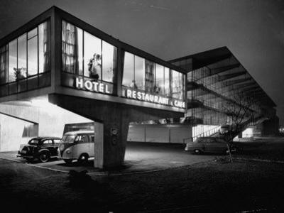 New Motel, Restaurant and Glass and Steel Garage by Ralph Crane