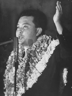 Rep. Daniel K. Inouye During Campaign for House of Representatives by Ralph Crane