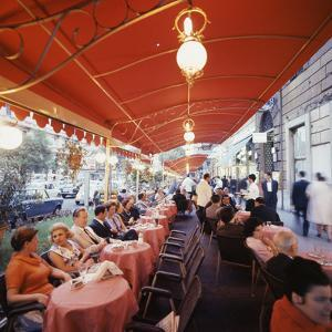 Rome's Cafe De Paris on Via Veneto, a Favorite After-Hours Sitting Spot for Natives and Tourists by Ralph Crane