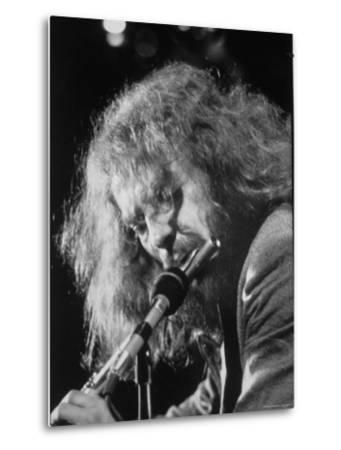 Singer Ian Anderson Playing the Flute During a Rehearsal for a TV Special by Ralph Crane