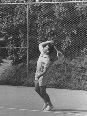 Singer Ricky Nelson Rehearsing Tennis Court Scene for TV Show by Ralph Crane