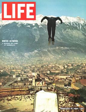 Ski Jumper at Innsbruck Olympics, February 14, 1964 by Ralph Crane