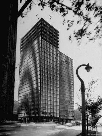 View of Mies Van Der Rohe's Glass Walled Apartment house in Chicago by Ralph Crane