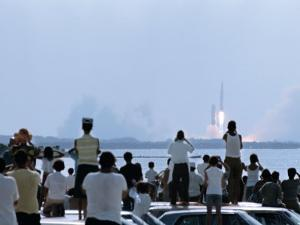 View over the Head of Spectators of the Launch of Nasa's Apollo 11 Space Mission by Ralph Crane