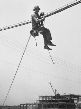 Workman at Shawnee Steam Plant Working on Telephone Wires by Ralph Crane