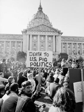 Yippie Led Anti-Election Protestors Outside City Hall by Ralph Crane