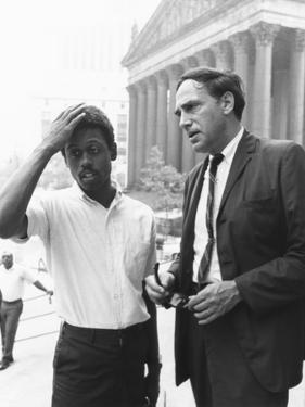 Ralph Featherstone of Sncc with Civil Rights Attorney, William Kunstler, Outside Federal Court