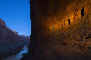Ancestral Pueblo Indian Graneries Carved into Canyon Walls by Ralph Lee Hopkins