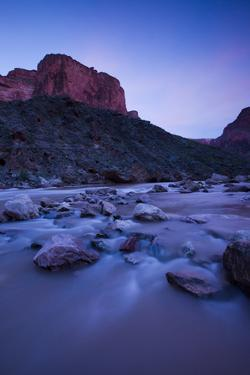 Colorado River Rushing over Stones at Twilight by Ralph Lee Hopkins