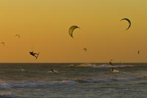 Kite Surfers at Sunset by Ralph Lee Hopkins