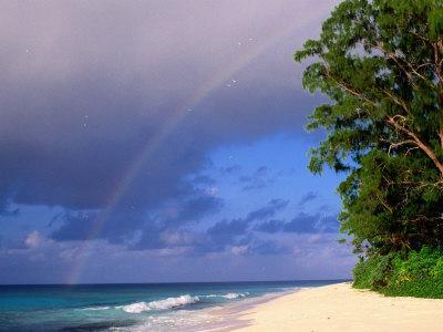 Rainbow Over Sea and Island, Seychelles