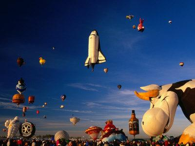 Space Shuttle and Cow Shaped Balloons at Balloon Fiesta, Albuquerque, New Mexico, USA