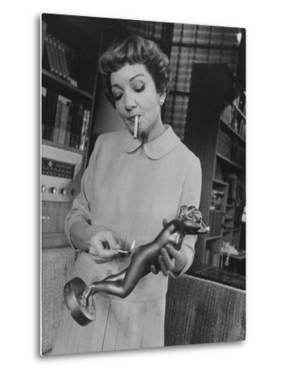 """Actress Claudette Colbert in a Scene from """"The Marriage-Go-Round"""" by Ralph Morse"""