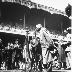 An Ailing Babe Ruth Thanking Crowd During Babe Ruth Day at Yankee Stadium by Ralph Morse