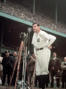Baseball Great Babe Ruth, Addressing Crowd and Press During Final Appearance at Yankee Stadium by Ralph Morse