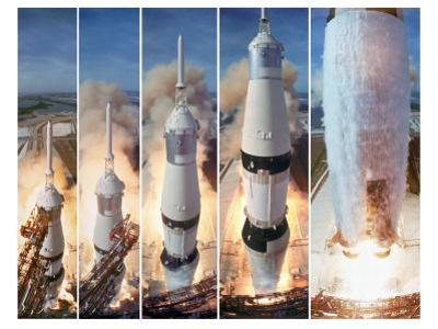 Composite 5 Frame Shot of Gantry Retracting While Saturn V Boosters Lift Off to Carry Apollo 11