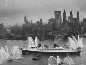 Fireboats Greeting the SS France, as It Enters the New York Harbor on Its Maiden Voyage by Ralph Morse