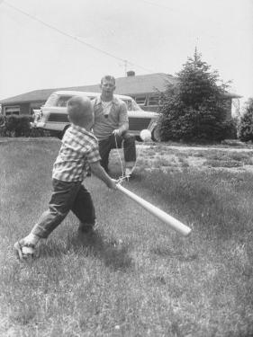 Mickey Mantle's Son Batting at Ball Pitched by Him by Ralph Morse