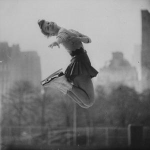 Olympic Skater Carol Heiss Performing on Ice Outdoors at Wollman Memorial Rink in Central Park by Ralph Morse
