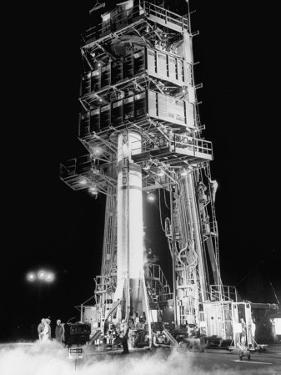 Redstone Rocket in Launching Stand by Ralph Morse