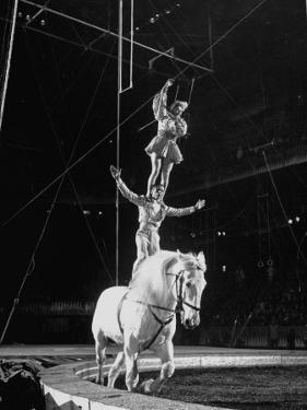 Ringling Brothers' Barnum and Bailey Circus Performers Riding on Back of Horse by Ralph Morse