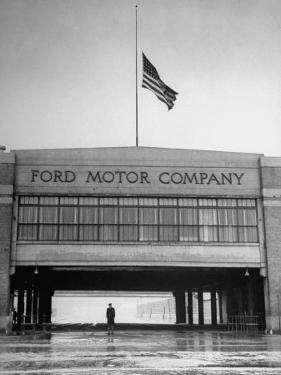 With Flag at Half Staff, the Ford Plant Is Deserted for Henry Ford's Funeral by Ralph Morse