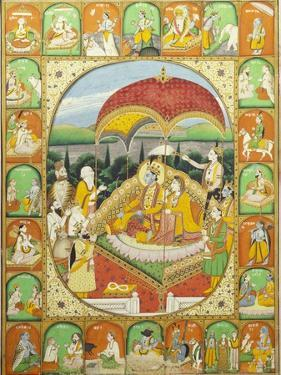 Rama and Sita Enthroned, Worshipped by Shiva, Hanuman and Others, 1800-20 (Gouache)