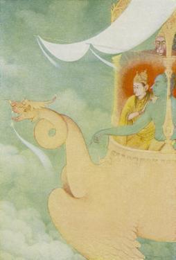 Rama and Sita Return to Ayodhya in the Vehicle Pushpaka