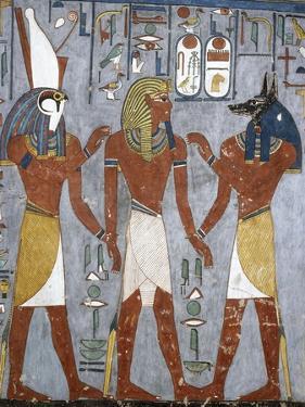 Rameses I Between Horus and Anubis, Fresco, Burial Chamber, Tomb of Ramesses I