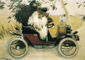Ramon Casas and Pere Romeu in an Automobile by Ramon Casas Carbo