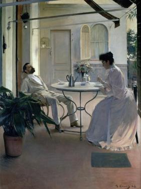 Open Air Interior, Barcelona, 1892 by Ramon Casas i Carbo