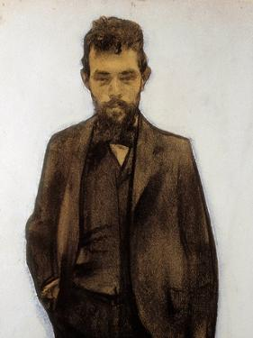 Portrait of Amadeo Vives (1871-1932) composer (pastel) by Ramon Casas i Carbo