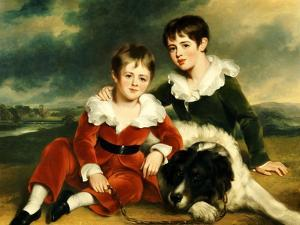 Portrait of Two Boys with their Newfoundland Dog by Ramsay Richard Reinagle