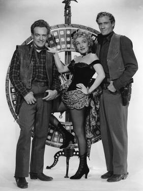RANCHO NOTORIOUS, 1952 directed by FRITZ LANG Arthur Kennedy, Marlene Dietrich and Mel Ferrer (b/w