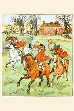 Three Jovial Horsemen Tooting their Hunting Horns by Randolph Caldecott
