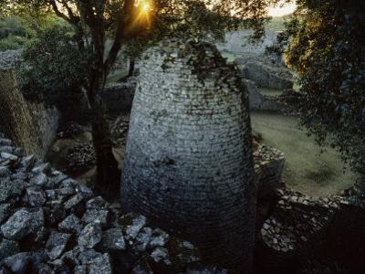 The 8th Century Conical Tower and Stone Enclosure Ruins, Great Zimbabwe Ruins by Randy Faris