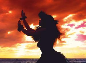 Hula Dancer Silhouette at Sunset by Randy Jay Braun