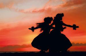 Hula Sisters: Hawaiian Hula Dancers at Sunset by Randy Jay Braun
