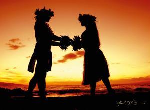 Love Gives Life Within, Hawaiian Hula Dancers at Sunset by Randy Jay Braun