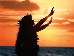 To Ask a Blessing: Hawaiian Hula Dancer at Sunset by Randy Jay Braun