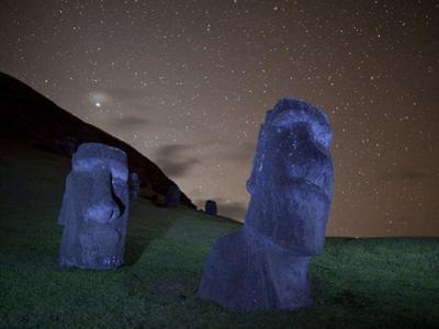 Ancient Moai Statues Dot a Hillside on Rano Raraku Crater by Randy Olson