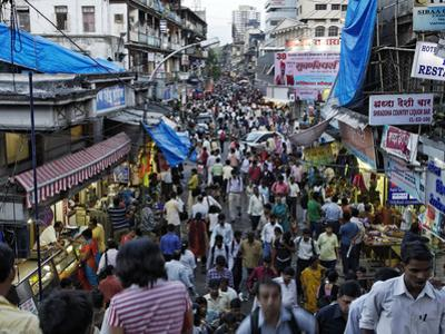 Crowds Near the Flower Market in Downtown Mumbai by Randy Olson