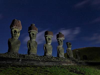 Restored Moai with Topknots on Akakena Beach by Randy Olson
